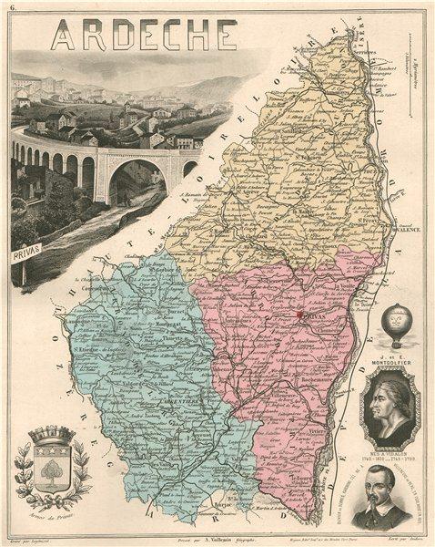 Associate Product ARDÈCHE. Département. Privas. Montgolfier. de Serres. VUILLEMIN 1879 old map