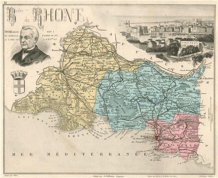 Associate Product BOUCHES-DU-RHÔNE. Département. Marseille. Thiers. VUILLEMIN 1879 old map