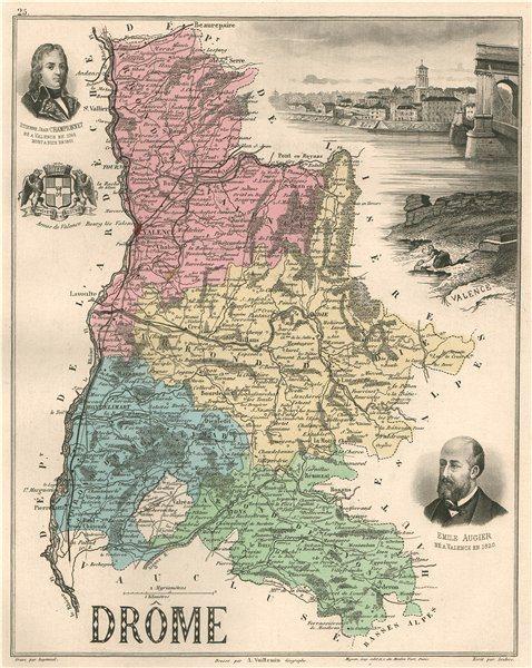 Associate Product DRÔME. Département. Valence. Championnet. Augier. VUILLEMIN 1879 old map