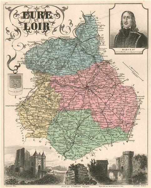 Associate Product EURE-ET-LOIR département. Chartres Nogen-le-Rotrou Marceau. VUILLEMIN 1879 map