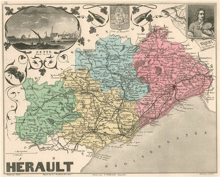 Associate Product HÉRAULT. Département. Cette. Riquet. VUILLEMIN 1879 old antique map plan chart