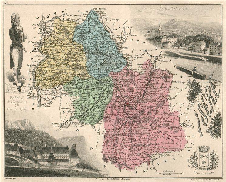Associate Product ISÈRE. Département. Grenoble. La Grand Chartreuse. Barnave. VUILLEMIN 1879 map