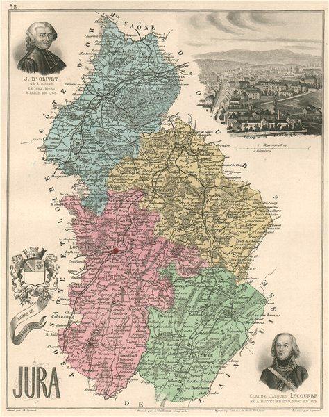 Associate Product JURA. Département. Lons-le-Saunier. d'Olivet. Lecourbe. VUILLEMIN 1879 old map