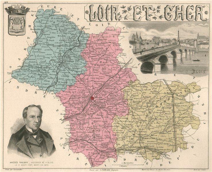Associate Product LOIR-ET-CHER. Département. Blois. Thierry. VUILLEMIN 1879 old antique map