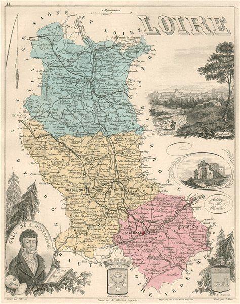 Associate Product LOIRE. Département. Montbrison. Gall. VUILLEMIN 1879 old antique map chart
