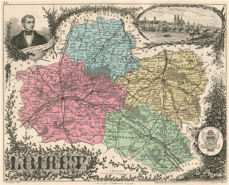 Associate Product LOIRET. Département. Orléans. Girodet. VUILLEMIN 1879 old antique map chart