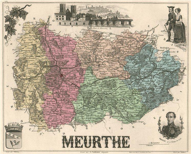 Associate Product MEURTHE. Département. Pont-à-Mousson. Drouot. VUILLEMIN 1879 old antique map