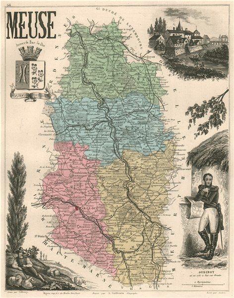 Associate Product MEUSE. Département. Bar-le-Duc. Oudinot. VUILLEMIN 1879 old antique map chart