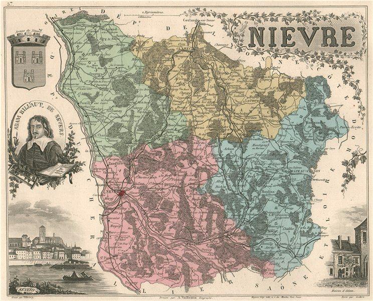 Associate Product NIÈVRE. Département. Nevers. Billaut. VUILLEMIN 1879 old antique map chart
