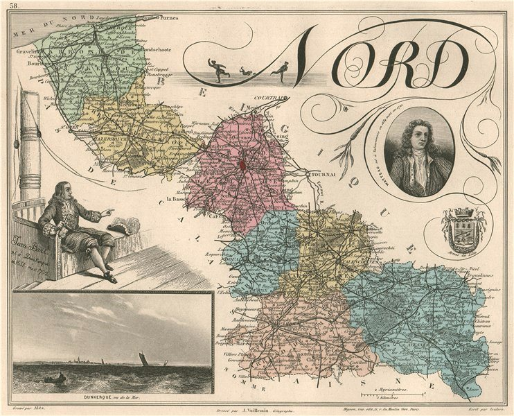 Associate Product NORD. Département. Dunkerque. Bart. Watteau. VUILLEMIN 1879 old antique map