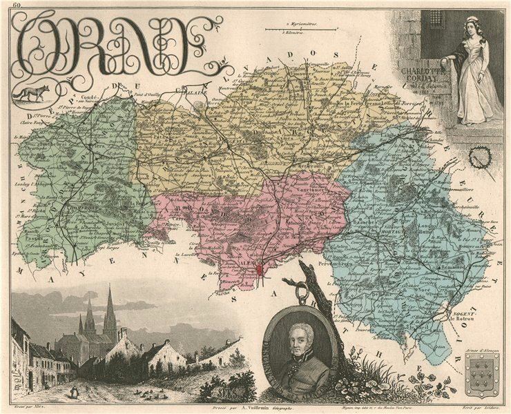 Associate Product ORNE. Département. Alençon. Corday. VUILLEMIN 1879 old antique map plan chart