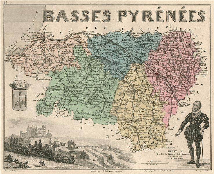 Associate Product Basses-PYRÉNÉES-ATLANTIQUES département. Pau. Henry IV. VUILLEMIN 1879 old map