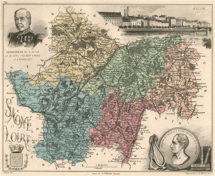 Associate Product SAÔNE-ET-LOIRE. Département. Mâcon. Changarnier. VUILLEMIN 1879 old map