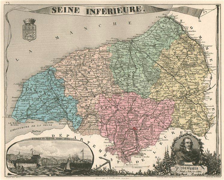 Associate Product SEINE-MARITIME/-Inférieure département. Le Havre. Corneille. VUILLEMIN 1879 map