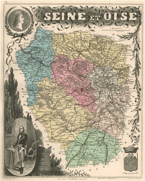 SEINE-ET-OISE. Département. Ile de France. VUILLEMIN 1879 old antique map