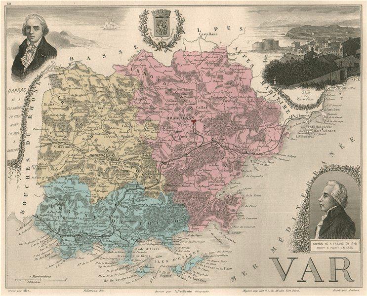 Associate Product VAR. Département. Toulon. Barras. Sieyès. VUILLEMIN 1879 old antique map chart