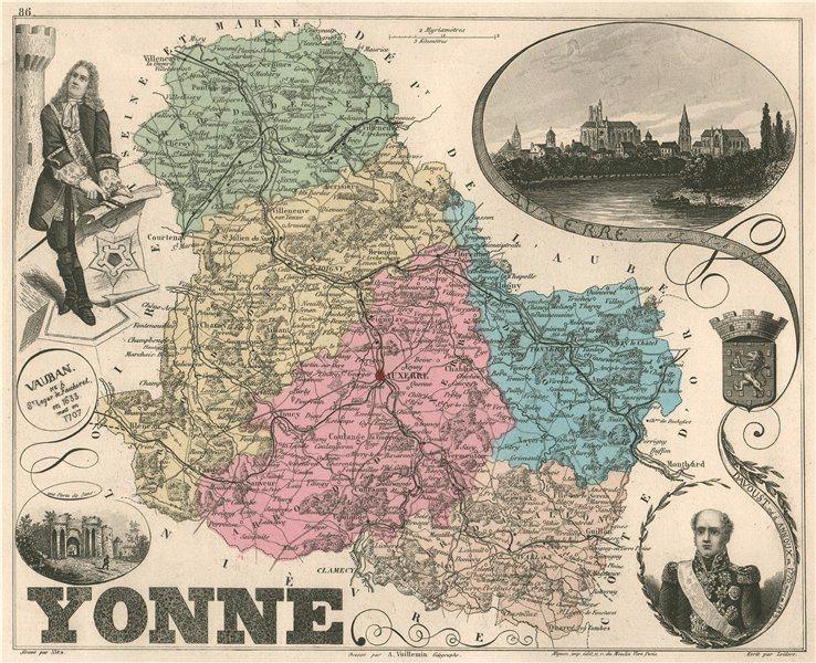 Associate Product YONNE. Département. Auxerre. Davoust. Vauban. VUILLEMIN 1879 old antique map