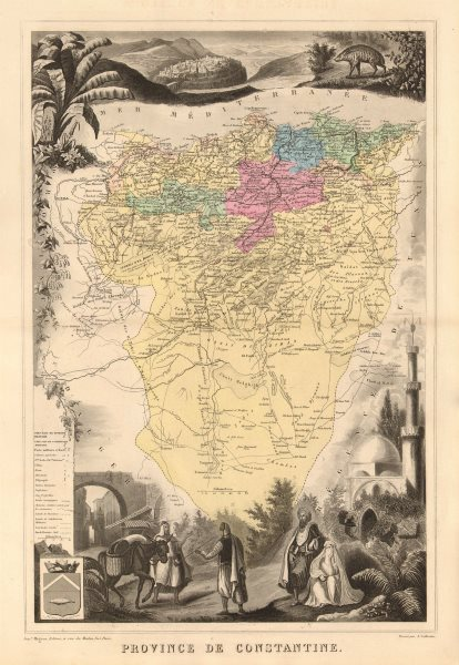 Associate Product ALGERIA. 'Province ou Département de Constantine'. VUILLEMIN 1879 old map