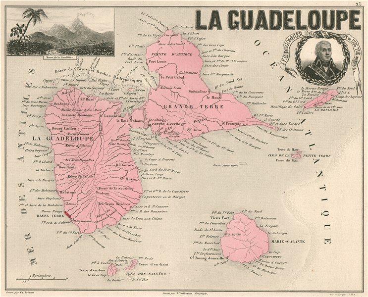 Associate Product GUADELOUPE & MARIE-GALANTE. Soufrière. Dugommier. Antilles. VUILLEMIN 1879 map