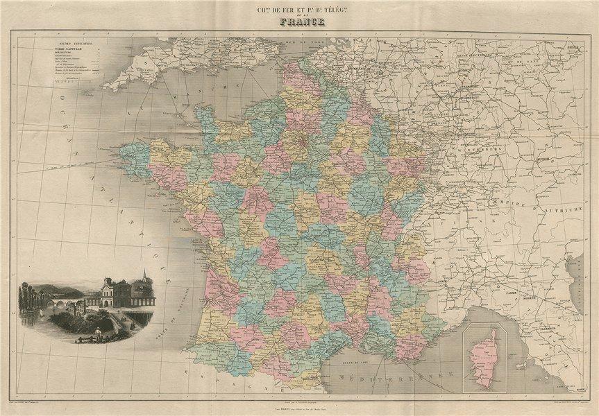 Associate Product FRANCE RAILWAYS/TELEGRAPHS Chemins de fer/Télégraphes.Large. VUILLEMIN 1879 map