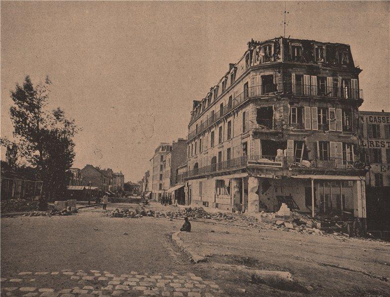 Associate Product PARIS COMMUNE 1871. Grande Rue d'Asnières, Café Cosselin (Avril 1871) c1873