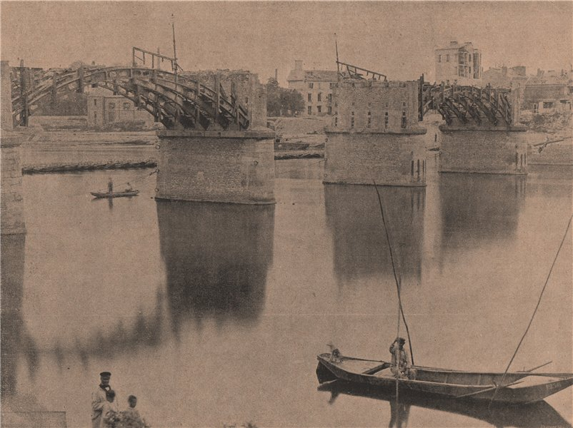 Associate Product PARIS COMMUNE 1871. Pont d'Asnières. Hauts-de-Seine c1873 old antique print