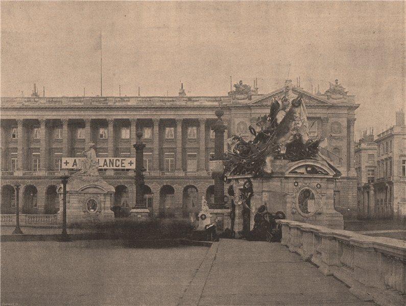 Associate Product PARIS COMMUNE 1871. Statue de Strasbourg apres le Traité de Paix c1873 print