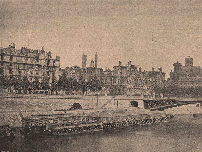 Associate Product PARIS COMMUNE 1871. L'Hotel de Ville (vue prise du Pont d'Arcole.) c1873 print