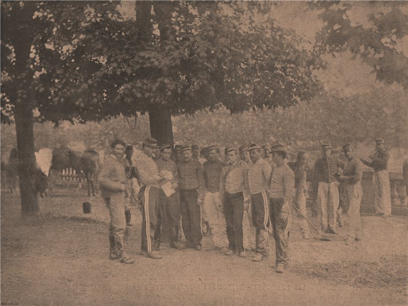 Associate Product PARIS COMMUNE 1871. Jardin du Luxembourg. Cavalerie Versaillaise c1873 print