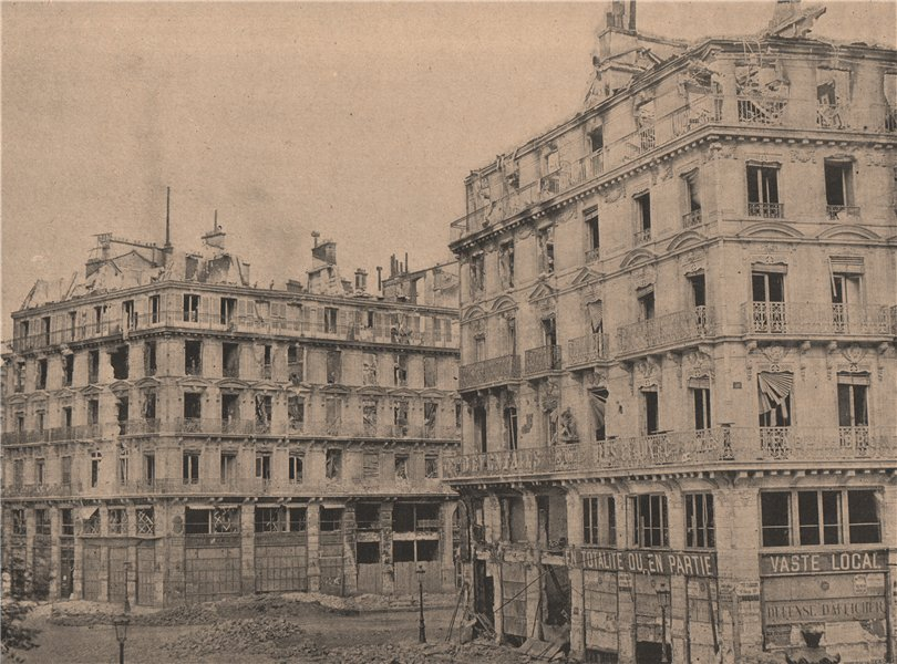 Associate Product PARIS COMMUNE 1871. La Place du Chateau-d'Eau /Boulevard Voltaire c1873 print