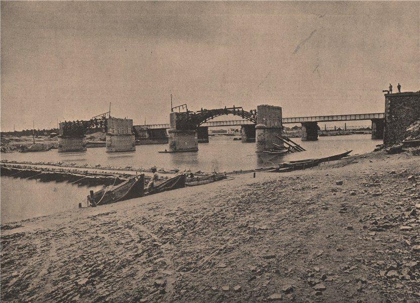 PARIS COMMUNE 1871. Pont de bateaux à Asnières. Hauts-de-Seine c1873 old print