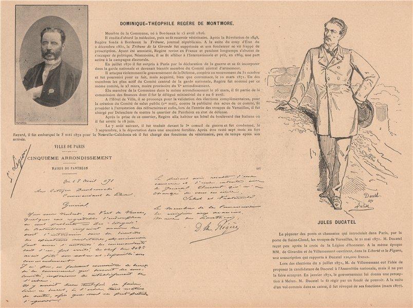 Associate Product PARIS COMMUNE 1871. Jules Ducatel; Dominique-Théophile Regère de Montmore c1873