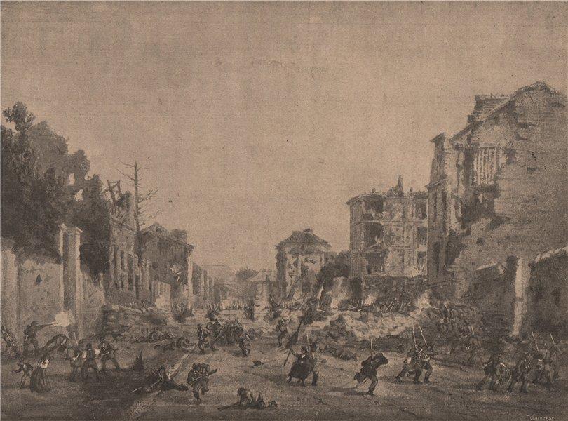 Associate Product PARIS COMMUNE 1871. Combat dans l'Avenue du Roule à Neuilly c1873 old print