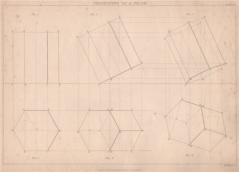 Associate Product VICTORIAN ENGINEERING DRAWING. Projections of a Prism 1876 old antique print