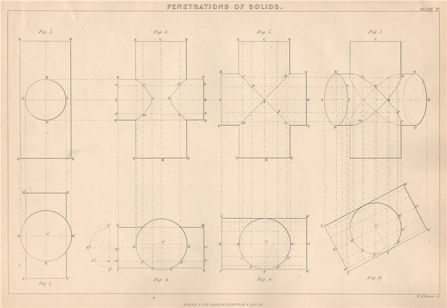 Associate Product VICTORIAN ENGINEERING DRAWING. Penetrations of Solids-Cylinders 1876 old print