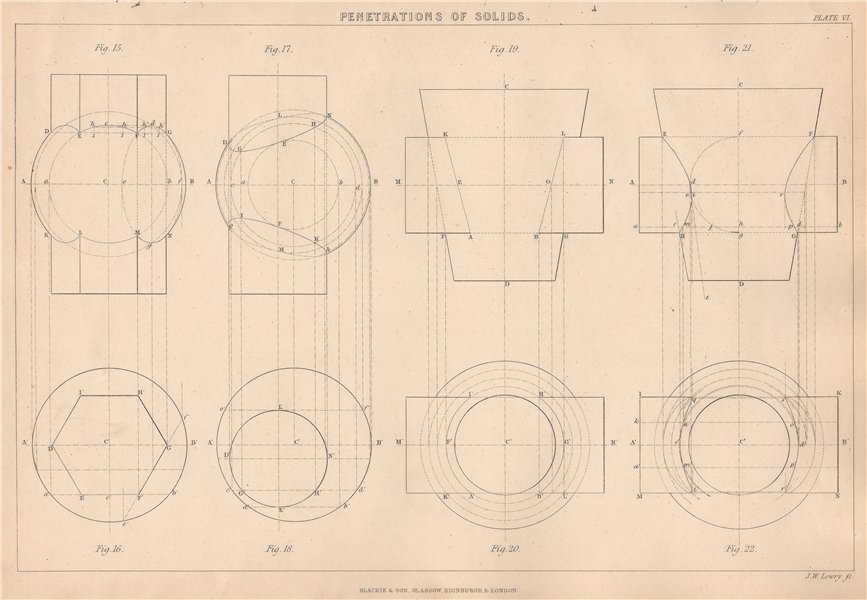 Associate Product 19C ENGINEERING DRAWING. Solids penetrations Cylinders Prisms Spheres Cones 1876