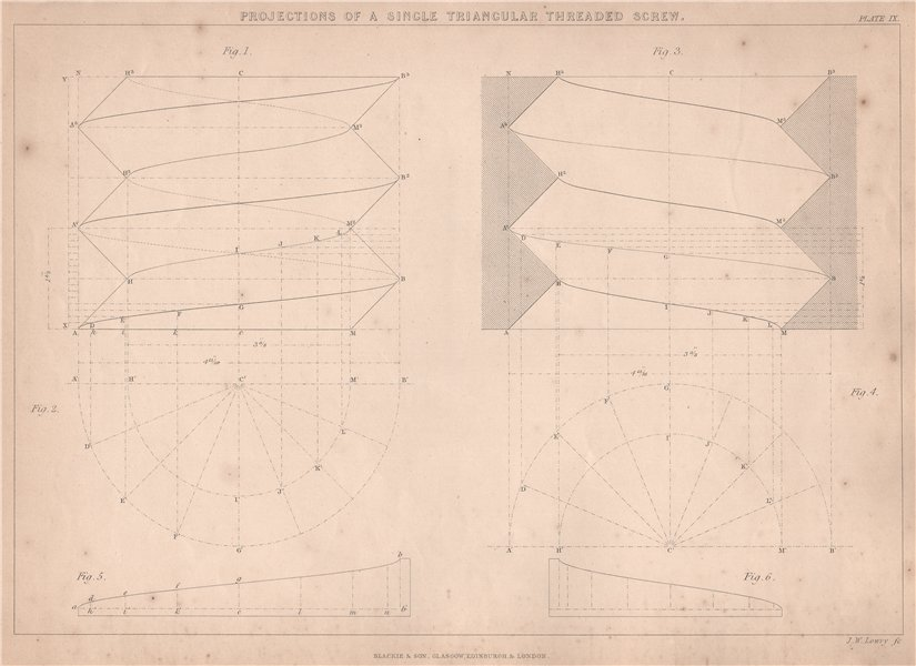 Associate Product 19C ENGINEERING DRAWING. Single triangular threaded screw & nut. Projection 1876