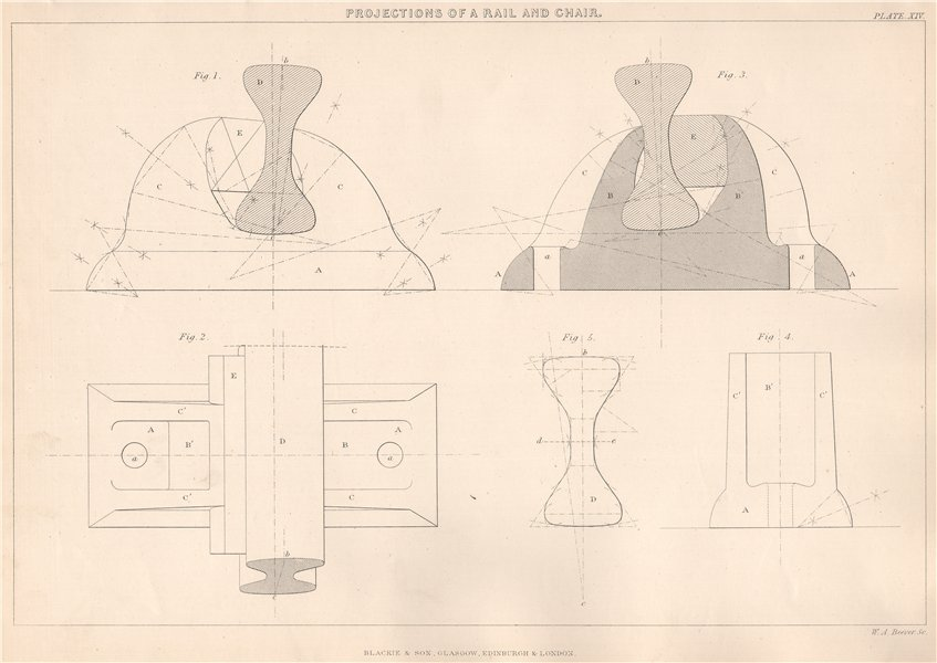 Associate Product VICTORIAN ENGINEERING DRAWING. Projections of a Rail and Chair 1876 old print
