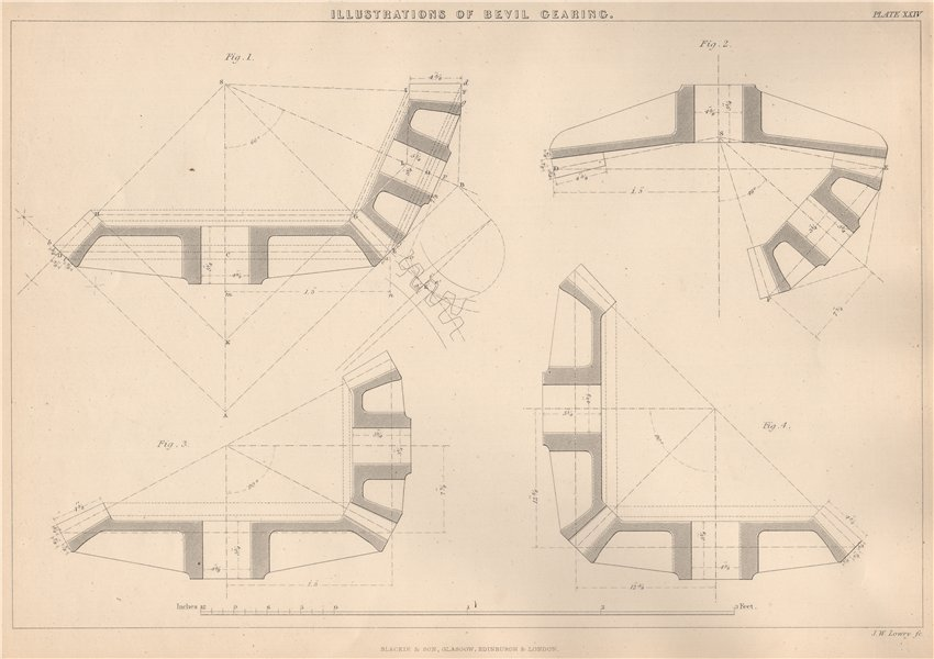 Associate Product VICTORIAN ENGINEERING DRAWING. Illustrations of Bevil-Gearing 1876 old print