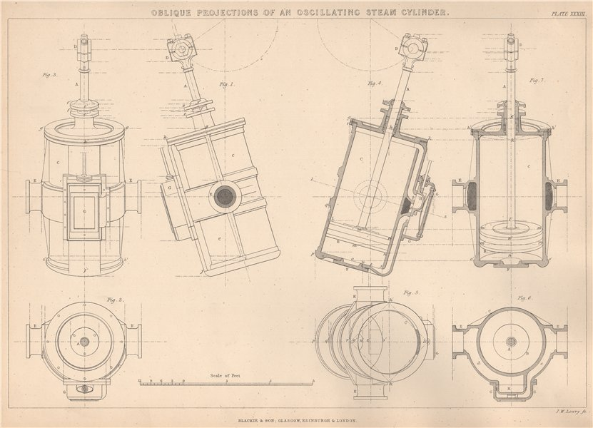 Associate Product VICTORIAN ENGINEERING DRAWING Oscillating steam cylinder oblique projection 1876