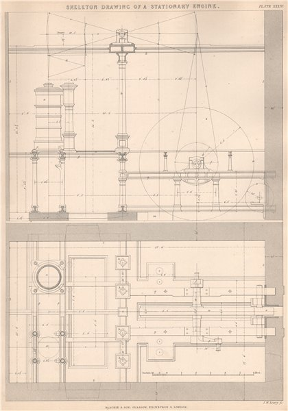 Associate Product VICTORIAN ENGINEERING DRAWING. Skeleton drawing of a Stationary Engine 1876
