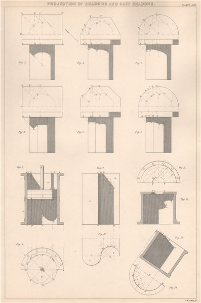 Associate Product VICTORIAN ENGINEERING DRAWING. Cast shadows projection. Prisms & Cylinders 1876