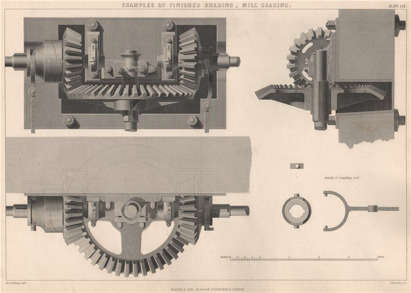 Associate Product VICTORIAN ENGINEERING DRAWING. Examples of finished shading, Mill Gearing 1876