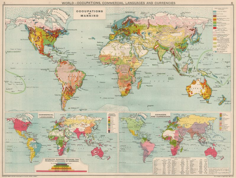 Associate Product World. Occupations, Commercial Languages & Currency zones 1925 old vintage map