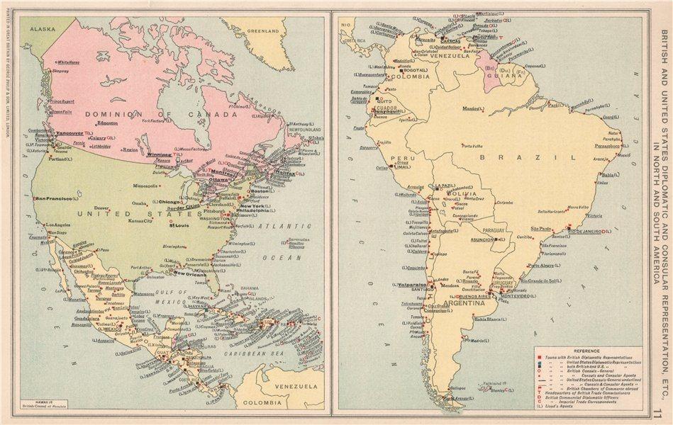 Associate Product Americas. British & US Diplomatic & Consular Representation. Embassies 1925 map