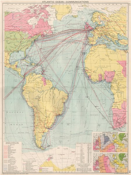 Associate Product Atlantic Ocean Communications. Steamship lines/companies. Isochronic 1925 map