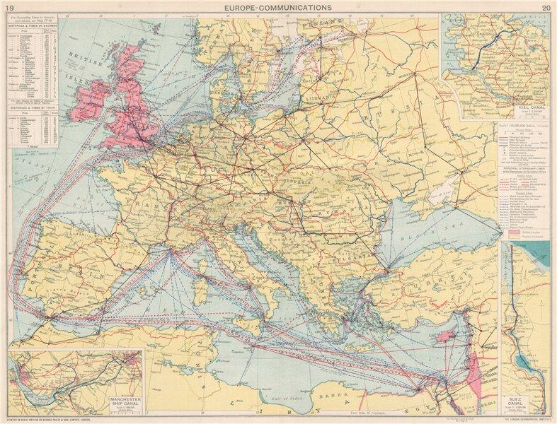 Associate Product Europe/Mediterranean Communications. Steamship lines/companies. Suez 1925 map