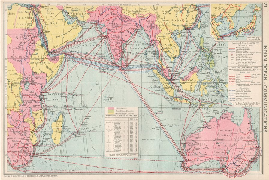 Associate Product Indian Ocean Communications. Sea routes. Steamship lines/companies 1925 map
