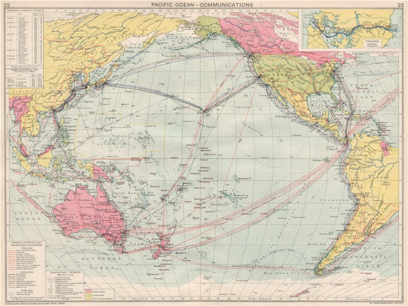 Associate Product Pacific Ocean Communications. Sea routes. Steamship lines/companies 1925 map
