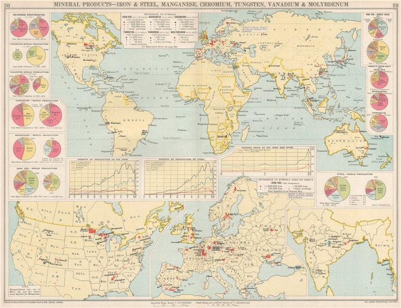 Associate Product World. Iron & Steel, Manganese, Chromium, Tungsten, Vanadium production 1925 map